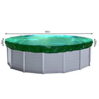 Winter Swimming Pool Cover Round 180g/m² for Poolsize 410 - 450 cm Tarpaulin dimension ø 510 cm Green