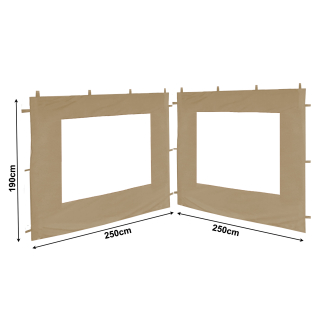 Set Replacement Roof and 2 Side Panels with PE Window for Garden Gazebo 3x3m Beige
