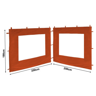 Set Replacement Roof and 2 Side Panels with PE Window for Garden Gazebo 3x3m Orange-Red