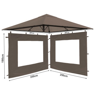 Set Replacement Roof and 2 Side Panels with PE Window for Garden Gazebo 3x3m Brown-Gray
