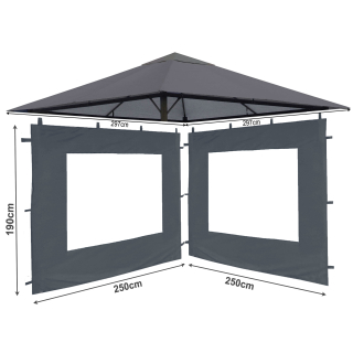 Set Replacement Roof and 2 Side Panels with PE Window for Garden Gazebo 3x3m Gray