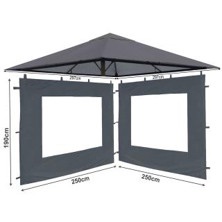 Set Ersatzdach und 2 Seitenteile  für Garten Pavillon 3x3m Grau RAL 7012 Antik Pavillondach Ersatzbezug Seitenwand