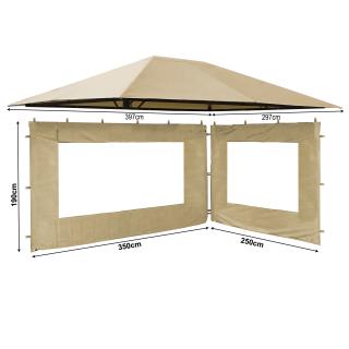 Set Ersatzdach und 2 Seitenteile  für Garten Pavillon 3x4m Sand Antik Pavillondach Ersatzbezug Seitenwände