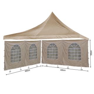 SET Ersatzdach 4x4m und 2 Seitenwände 400x193cm für Lounge Pavillon Sahara Sand