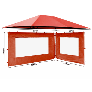Set Replacement Roof and 2 Side Panels with PE Window for Garden Gazebo 3x4m Orange-Red