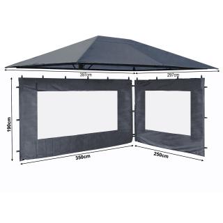 Set Ersatzdach und 2 Seitenteile  für Garten Pavillon 3x4m Grau RAL 7012 Antik Pavillondach Ersatzbezug Seitenwände