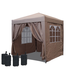 Pop-Up Gazebo 2,5 x 2,5 m Beige with footweights and 4 Easy fastening sidewalls with 2 zippers