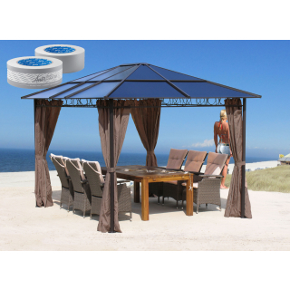 Metall Hardtop Pavillon 3x3,6m inkl.  4 Seitenteilen und Anti Dust Filterband Doppelstegplatten Polycarbonat Garten Dach Partyzelt Pergola
