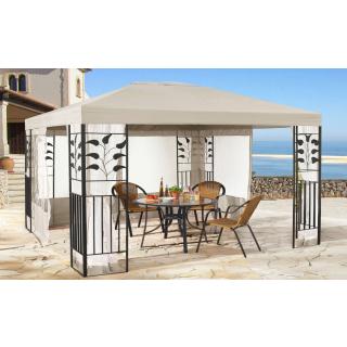 Garten Blätter Pavillon 3x4m Sand Partyzelt Metall Carport mit 4 Seitenteilen mit Moskitonetz