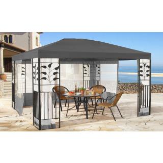 Garten Blätter Pavillon 3x4m Grau  mit 4 Seitenteilen mit Moskitonetz Grau Partyzelt Metall Carport