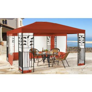 Garten Blätter Pavillon 3x4m Rotorange mit 4 Seitenteilen mit Moskitonetz Partyzelt Metall Carport