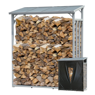 ALUMINIUM Firewood Shelf Anthracite 130 x 70 x 185 cm Garden Firewood Shelter 1.6 m³ Stacking Aid Outdoor with Weather Protection Black