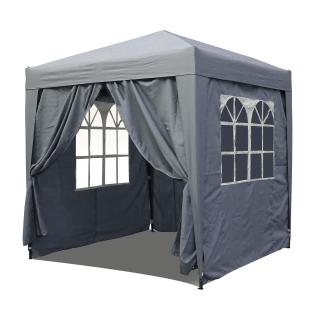 Pop-Up-Pavillon 2,5 x 2,5 m Smoky Grau mit 4 Easy-Klett Seitenwänden mit 2 Reißverschlüssen.