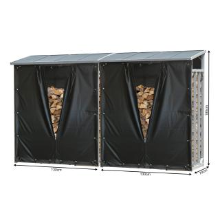 2 Stück ALUMINIUM Kaminholzregal 130 x 70 x 185 cm mit Wetterschutz Garten Kaminholzunterstand 3,2 m³ Kaminholzlager Stapelhilfe Aussen