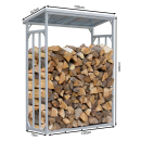 2 Piece ALUMINIUM Firewood Shelf Anthracite XXL 130 x 70 x 185 cm Garden Firewood Shelter 3.2 m³ Stacking Aid Outdoor with Weather Protection Black