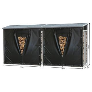 2 Stück ALUMINIUM Kaminholzregal XXL 185 x 70 x 185 cm mit Wetterschutz Garten Kaminholzunterstand 4,6 m³ Kaminholzlager Stapelhilfe Aussen