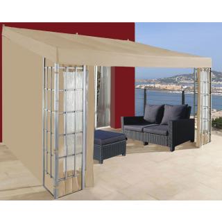 Rank Anbau 3x4m Sand mit 3 Seitenteilen Anbaupavillon Terrassendach