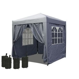 Pop-Up-Pavillon 2 x 2 m Smoky Grau mit 4 Easy-Klett Seitenwänden und 4 Fußgewichten