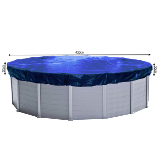 Winter Swimming Pool Cover Round 200g/m² for Poolsize 380 - 420 cm Tarpaulin dimension ø 480 cm Blue