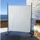 Paravent 150 x 190 cm Fabric Room Devider Garden Partition Wall Balcony Privacy Screen White