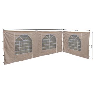 2 Seitenteile mit PVC Fenster 300x193cm / 400x193cm  für Pavillon Sahara 3x4m Seitenwand Sand