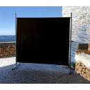 2 Piece Paravent 180 x 178 cm Fabric Room Devider Garden Partition Wall Balcony Privacy Screen Black