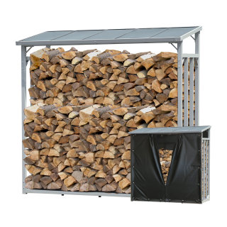 ALUMINIUM Firewood Shelf Anthracite 143 x 70 x 145 cm Garden Firewood Shelter 1.4 m³ Stacking Aid Outdoor with Weather Protection Black