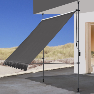 Clamp Awning Balcony Sunshade Telescopic Canopy 200x130cm No Drilling Retractable & Adjustable Color: Grey