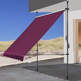 Klemmmarkise 250x130cm Bordeaux Balkonmarkise Sonnenschutz Terrassenüberdachung Höhenverstellbar von 200-290cm Markise Balkon ohne Bohren