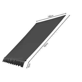 Ersatzdach für Klemmmarkisen 200x130cm Grau Balkon Sonnensegel Ersatzbezug