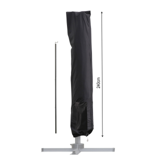 Umbrella cover 240x55cm Black for hanging umbrella with assembly rod for parasols up to 350x350cm