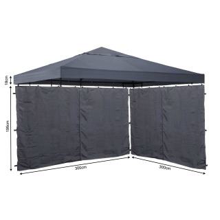 Set Replacement Roof and 2 Side Panels with Zip for Garden Gazebo 3x3m Gray