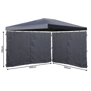 Set Replacement Roof and 2 Side Panels with Zip for Garden Gazebo 3x4m Gray