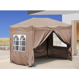 Pop-Up-Pavillon 2 x 3 m Beige mit 4 Easy-Klett Seitenwänden 2 mit Reißverschlüssen
