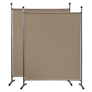 2 Piece Paravent 150 x 190 cm Fabric Room Devider Garden Partition Wall Balcony Privacy Screen Beige