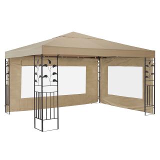 Garten Blätter Pavillon 3x3m Sand mit 2 Seitenteilen Partyzelt Metall Carport