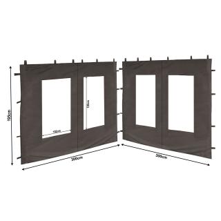 2 Seitenteile aus PE mit Fenster 300x195cm für Pavillon 3x3m Seitenwand Anthrazit RAL 7012