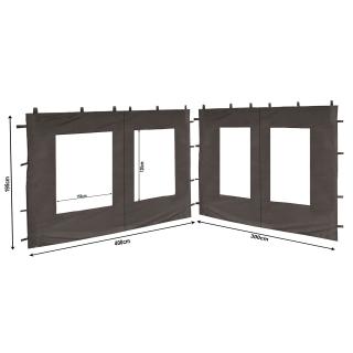 2 Seitenteile aus PE mit Fenster 300x195cm / 400x195cm  für Pavillon 3x4m Seitenwand Anthrazit RAL 7012