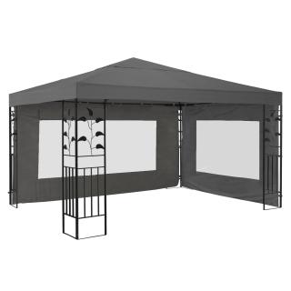 Garten Blätter Pavillon 3x3m Grau mit 2 Seitenteilen Partyzelt Metall Carport