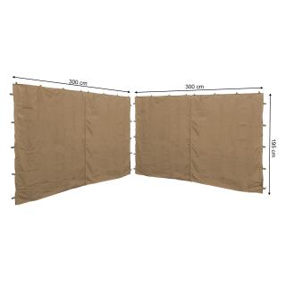 2 Seitenteile mit RV 300x195cm für Pavillons 3x3m Seitenwand Beige RAL 1001