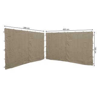 2 Seitenteile mit RV  300/400x195cm für Pavillon 3x4m Seitenwand Beige RAL 1001