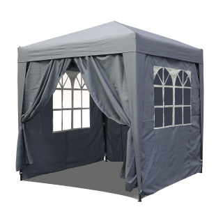 Pop-Up-Pavillon 2x2m Smoky Grey Gazebo with 4 Easy-fastening Sidewalls with 2 zippers