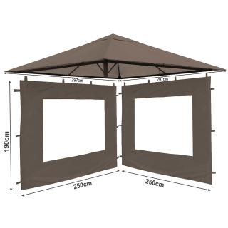 Set Ersatzdach und 2 Seitenteile  für Garten Pavillon 3x3m Taupe / Beigegrau RAL 7006 Antik Pavillondach Ersatzbezug