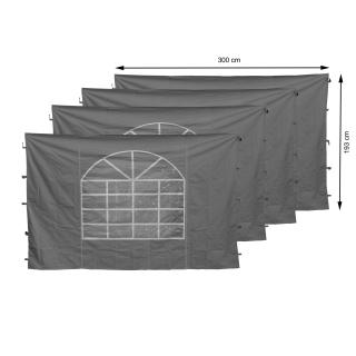 4 Seitenteile mit PVC Fenster 300x195cm für Pavillon Sahara 3x3m Seitenwand Grau