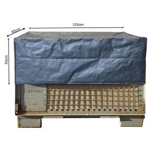 Gitterbox Abdeckung 125x85x50cm Grau PE Gewebefolie Schutzhülle Abdeckplane Staubschutz Versandtasche