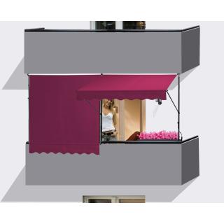 2 Stück Klemmmarkise 250x130cm Bordeaux Balkonmarkise Sonnenschutz Terrassenüberdachung Höhenverstellbar von 200-290cm Markise Balkon ohne Bohren
