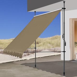 Klemmmarkise 200x130cm Beige Balkonmarkise Sonnenschutz Terrassenüberdachung Höhenverstellbar von 200-290cm Markise Balkon ohne Bohren