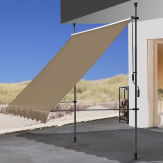 Klemmmarkise 300x130cm Beige Balkonmarkise Sonnenschutz Terrassenüberdachung Höhenverstellbar von 200-290cm Markise Balkon ohne Bohren