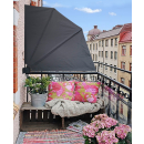 2 Stück Sichtschutz Fächer 140 x 140 cm EASY MOUNT GRAU Balkon Trennwand Windschutz Sonnenschutz