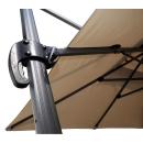 Ampelschirm Premium Mallorca 3x3m Sand mit Schutzhülle Fußkreuz und Gewichtsplatten